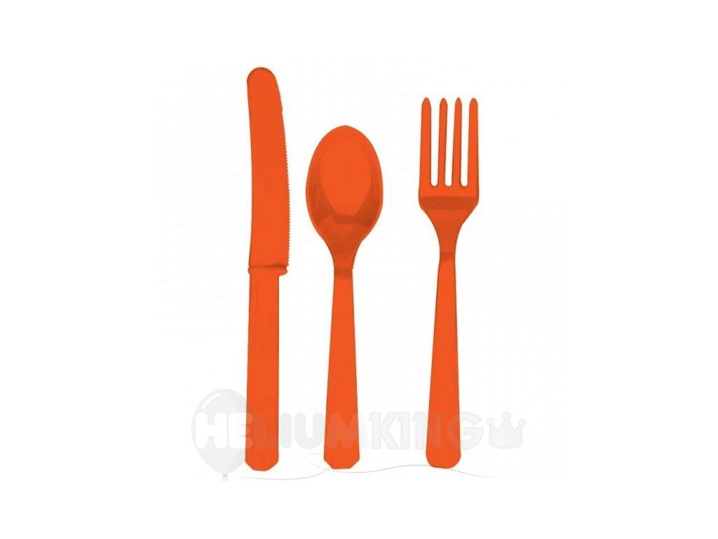 Príbor oranžový pre 8 ľudí