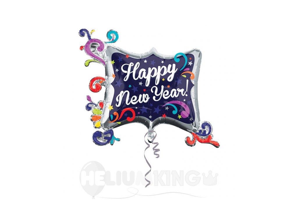 Foliovy balon Happy New Year spiraly