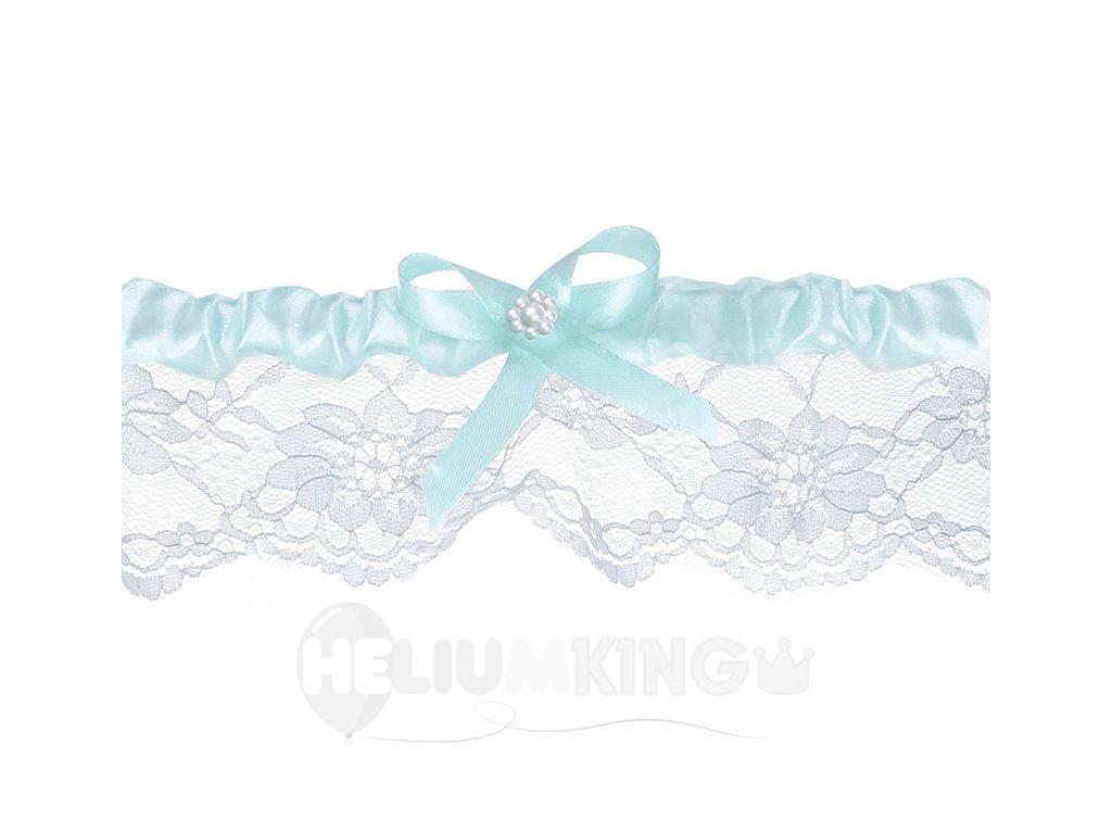 Svadobný podväzok čipkovaný biely so svetlomodrou stužkou