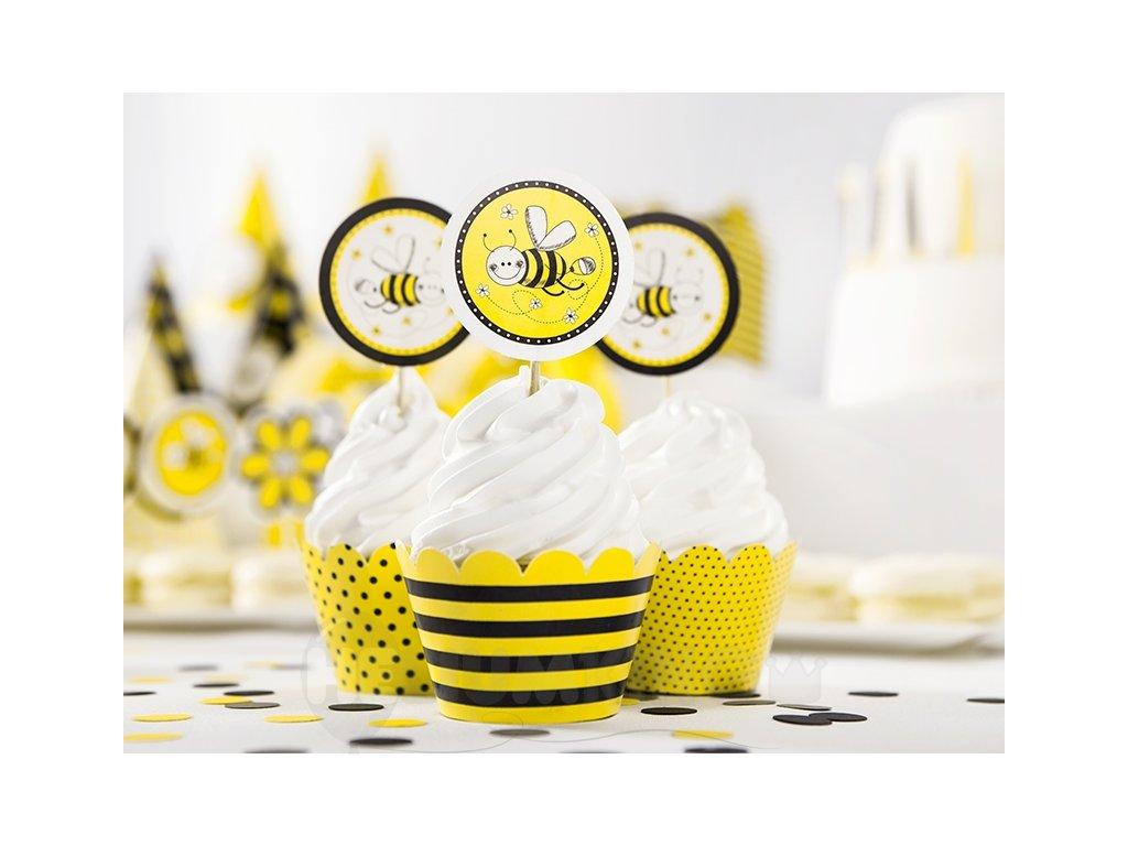 Ozdoby na cupcakes - Včielka 6 ks