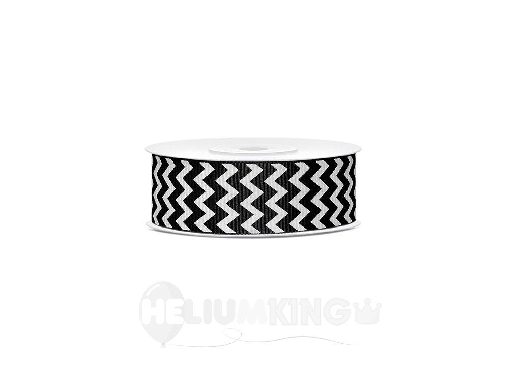 Rypsová stuha čierna so vzorom chevron 25mm/10m