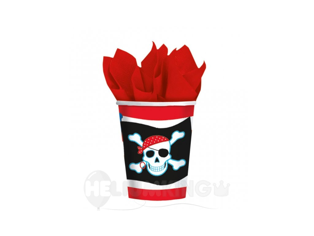 Poháre Pirátska oslava 8 ks
