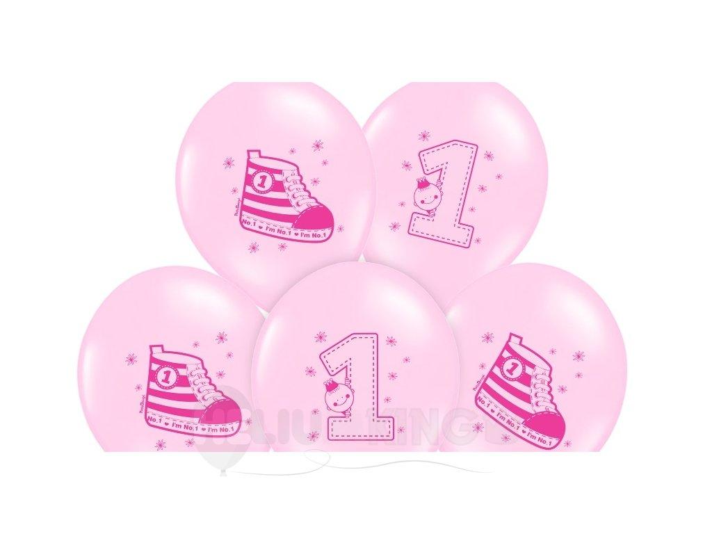 Balon 1. narodniny ruzovy