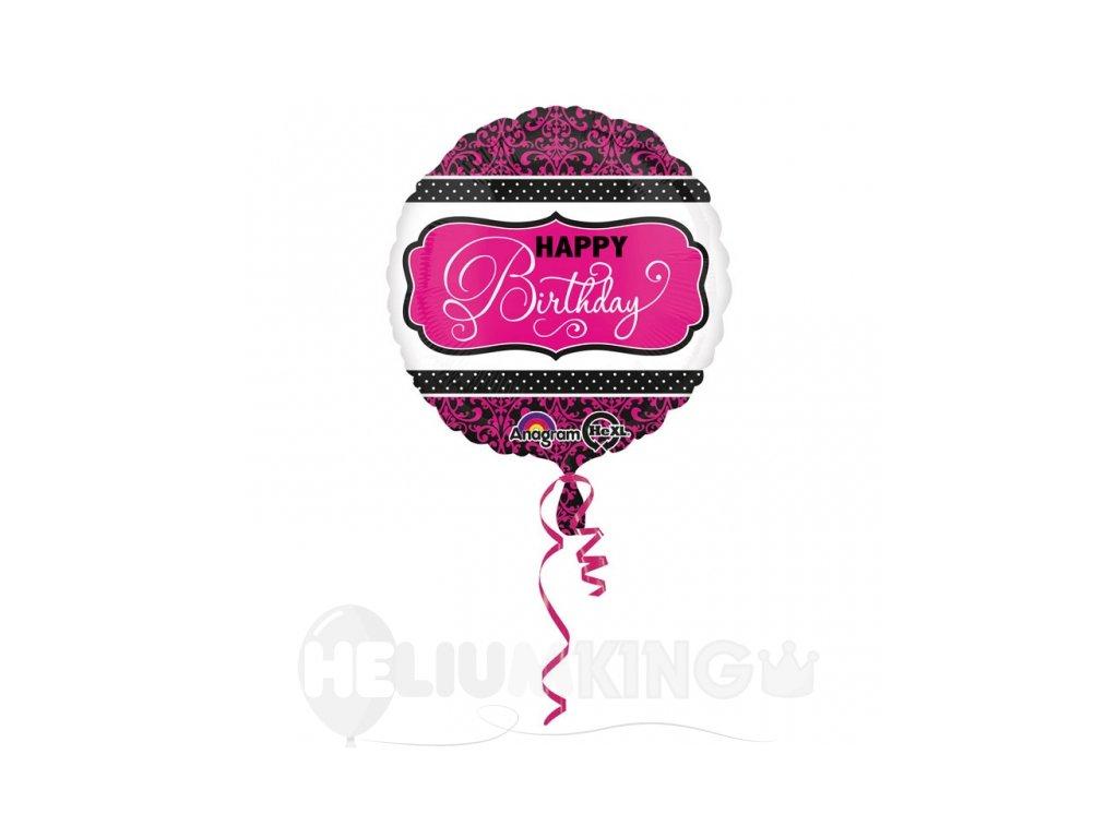 Fóliový balón Happy Birthday ružovo čierny 43 cm