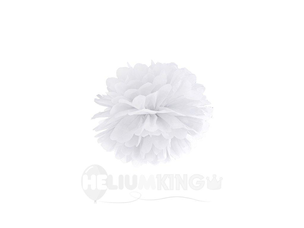 Pompom v tvare bieleho kvetu 25 cm