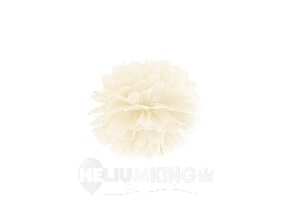 Pompom v tvare kvetu krémový 25 cm