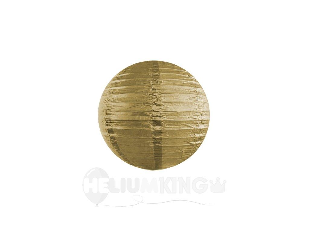 Okrúhly papierový lampión zlatý 20 cm
