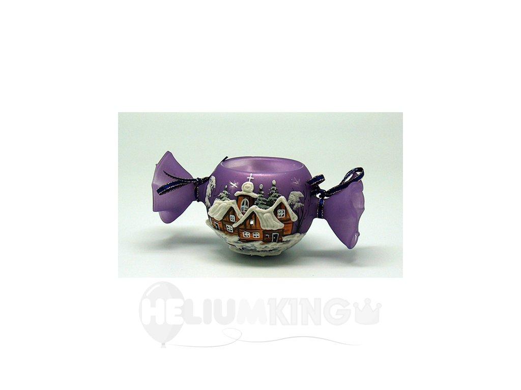Bonbón fialový s motívom dreveníc