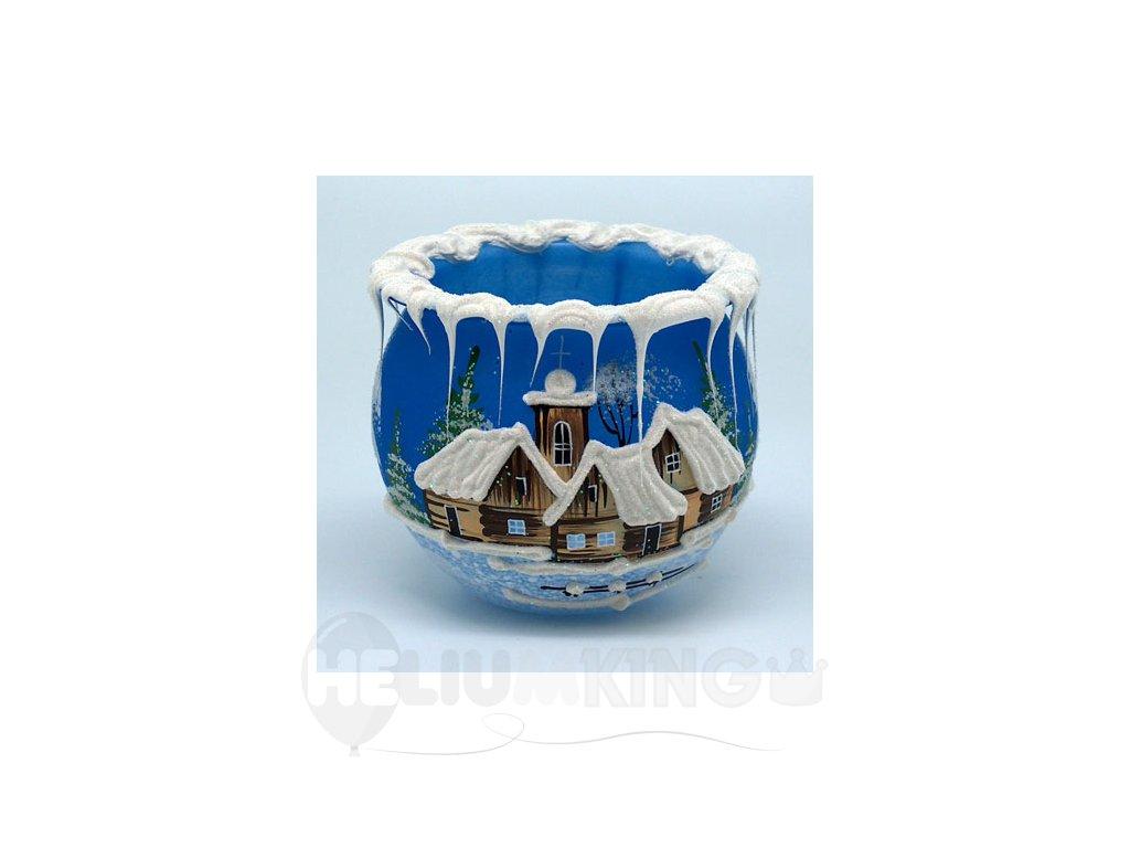 Kalich modrý s motívom dreveníc 8 cm