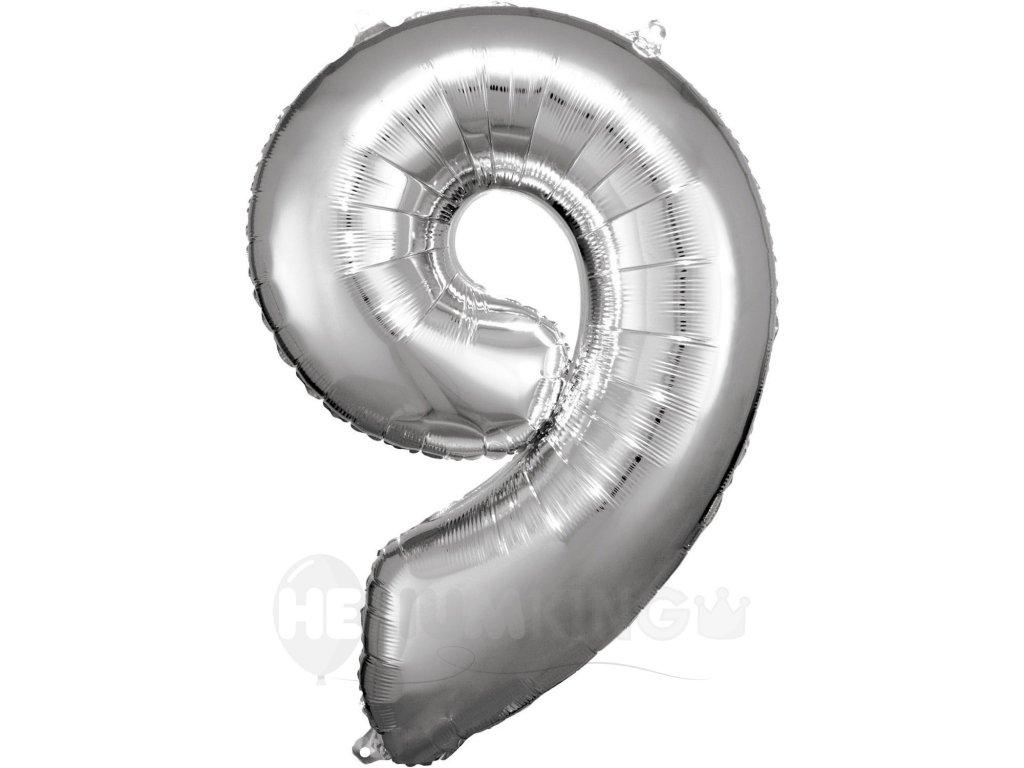 Balónik fóliový narodeninové číslo 9 strieborný