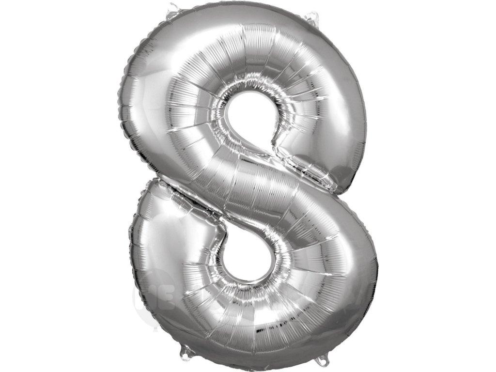 Balónik fóliový narodeninové číslo 8 strieborný 86 cm