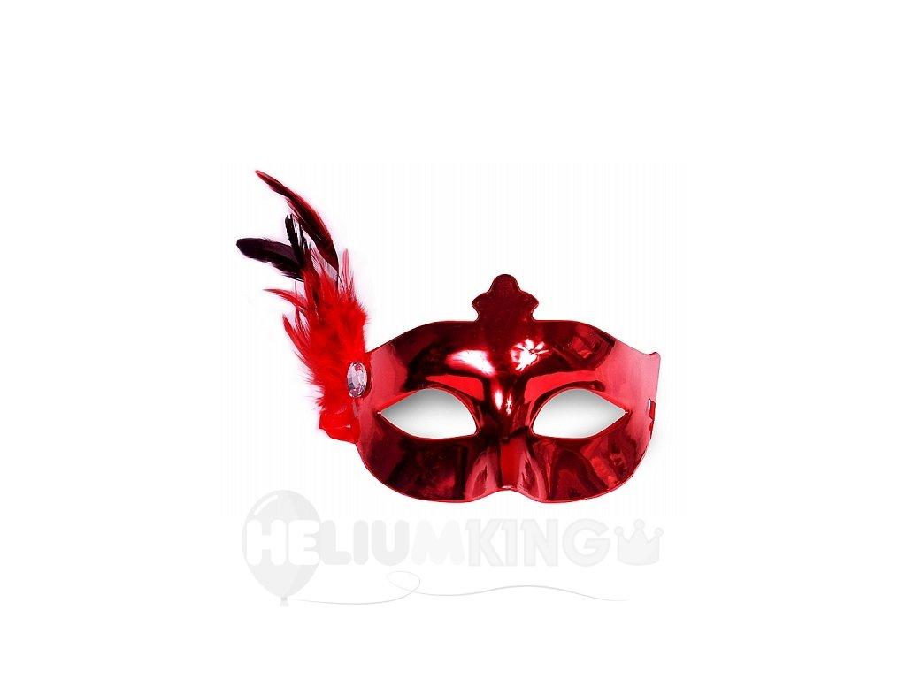 Party maska s pierkom červená