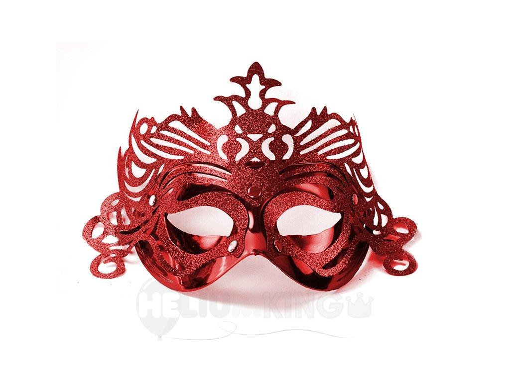 Party maska s ornamentami červená