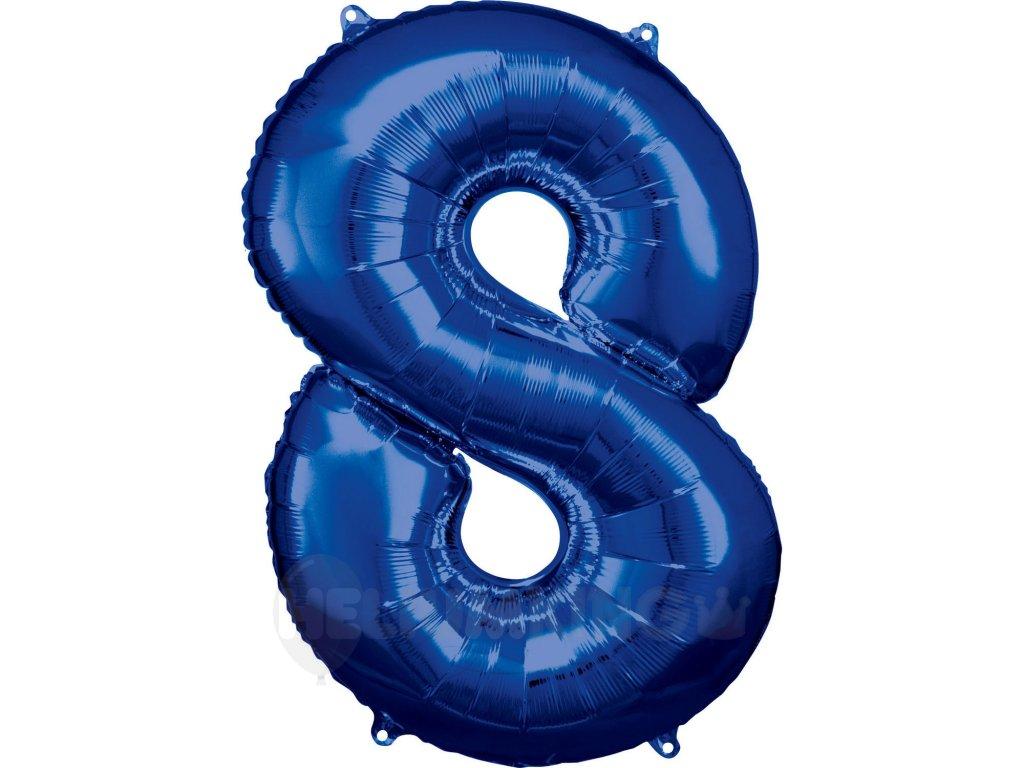 Balónik fóliový narodeninové číslo 8 modrý 86 cm