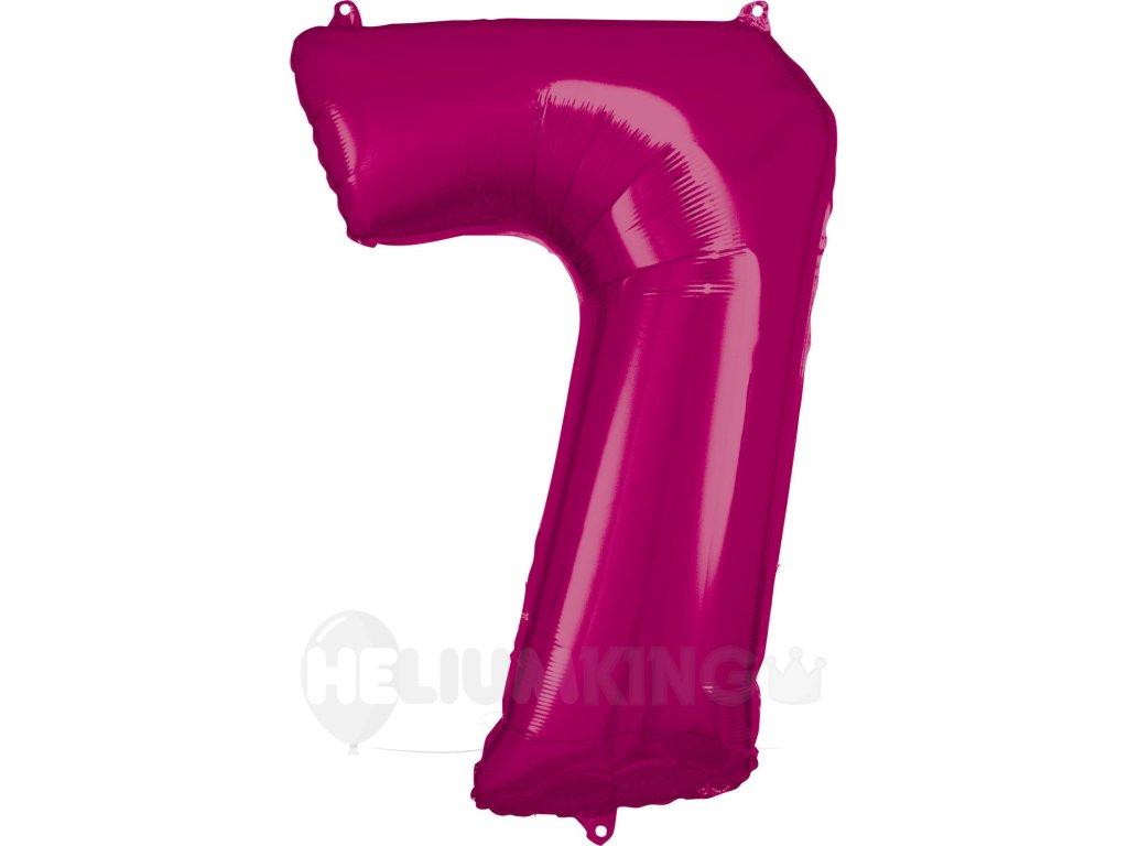 Balónik fóliový narodeninové číslo 7 ružový 86 cm