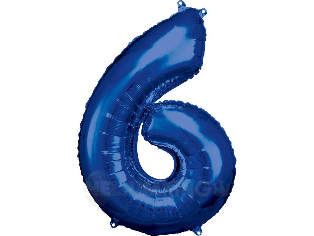 Balónik fóliový narodeninové číslo 6 modrý 86 cm