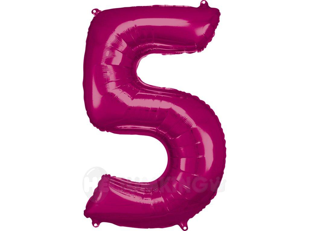Balónik fóliový narodeninové číslo 5 ružový 86 cm