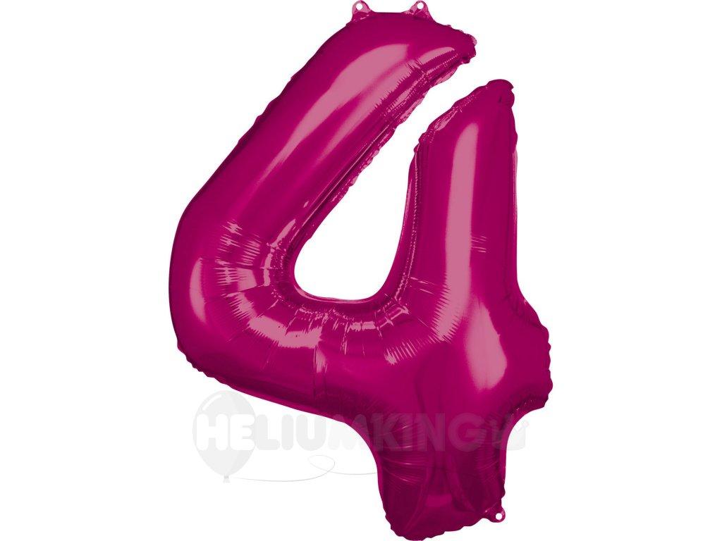 Balónik fóliový narodeninové číslo 4 ružový 86 cm
