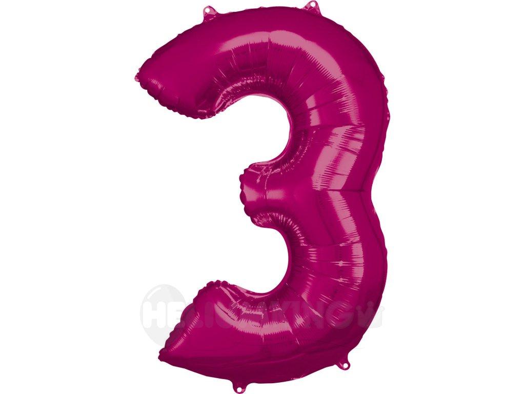 Balónik fóliový narodeninové číslo 3 ružový 86 cm
