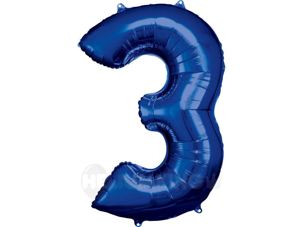 Balónik fóliový narodeninové číslo 3 modrý 86 cm