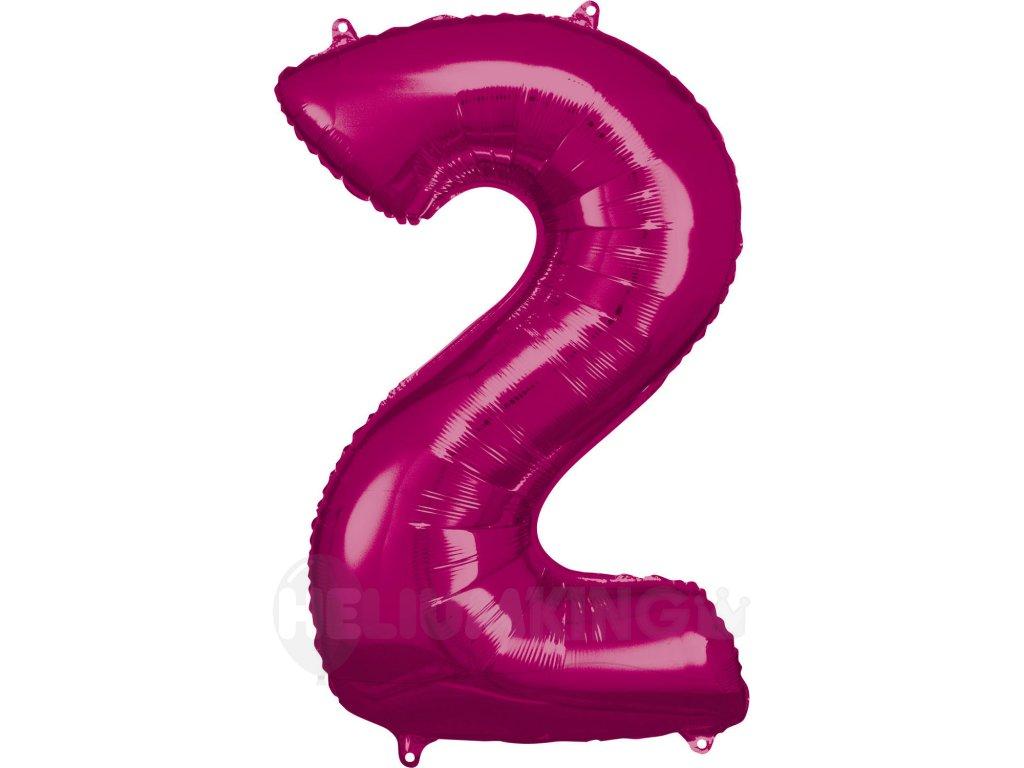 Balónik fóliový narodeninové číslo 2 ružový 86 cm