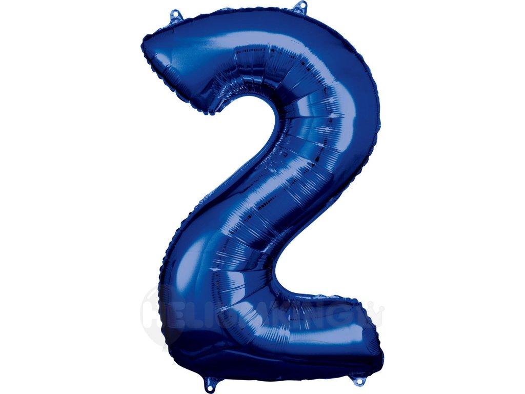Balónik fóliový narodeninové číslo 2 modrý 86cm