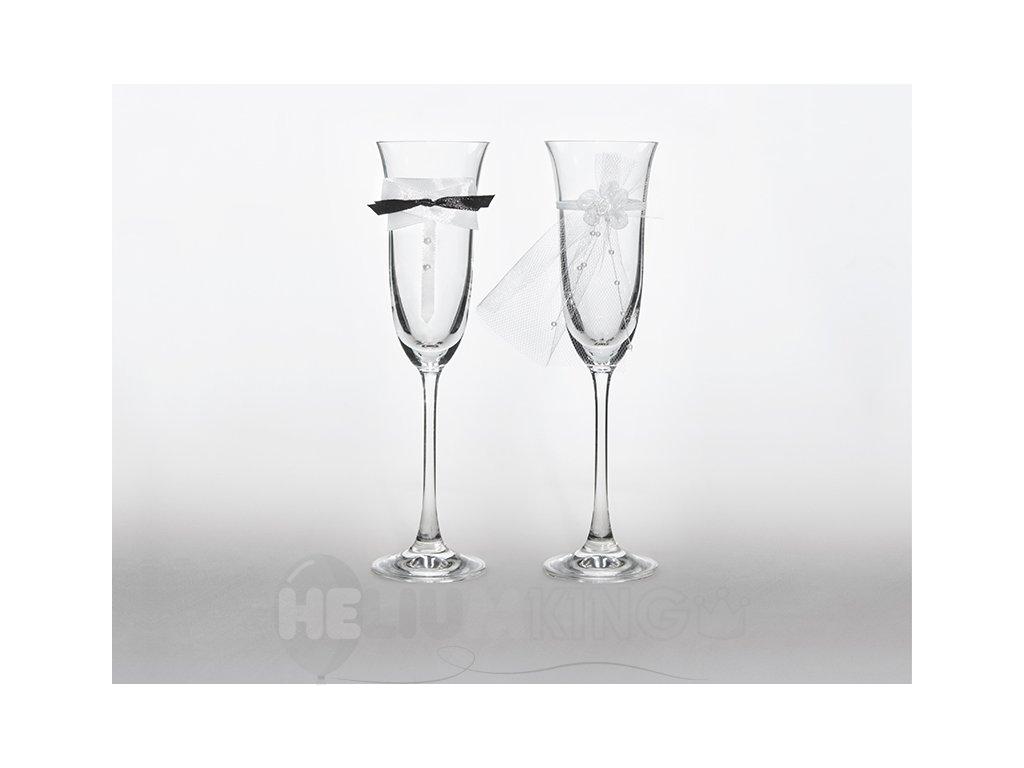 Svadobné poháre s motýlikom a závojom