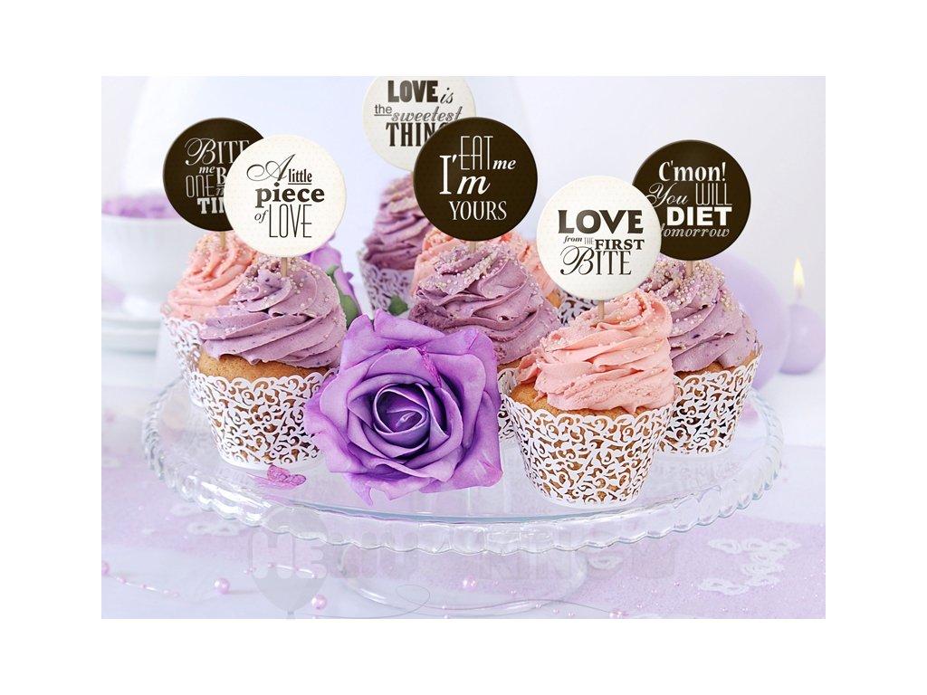 Ozdoby na cupcakes - Sweet Love 6 ks