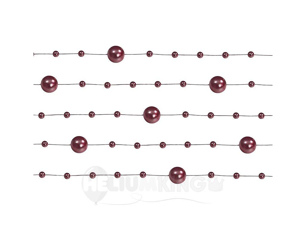 Perlové girlandy tmavo červené