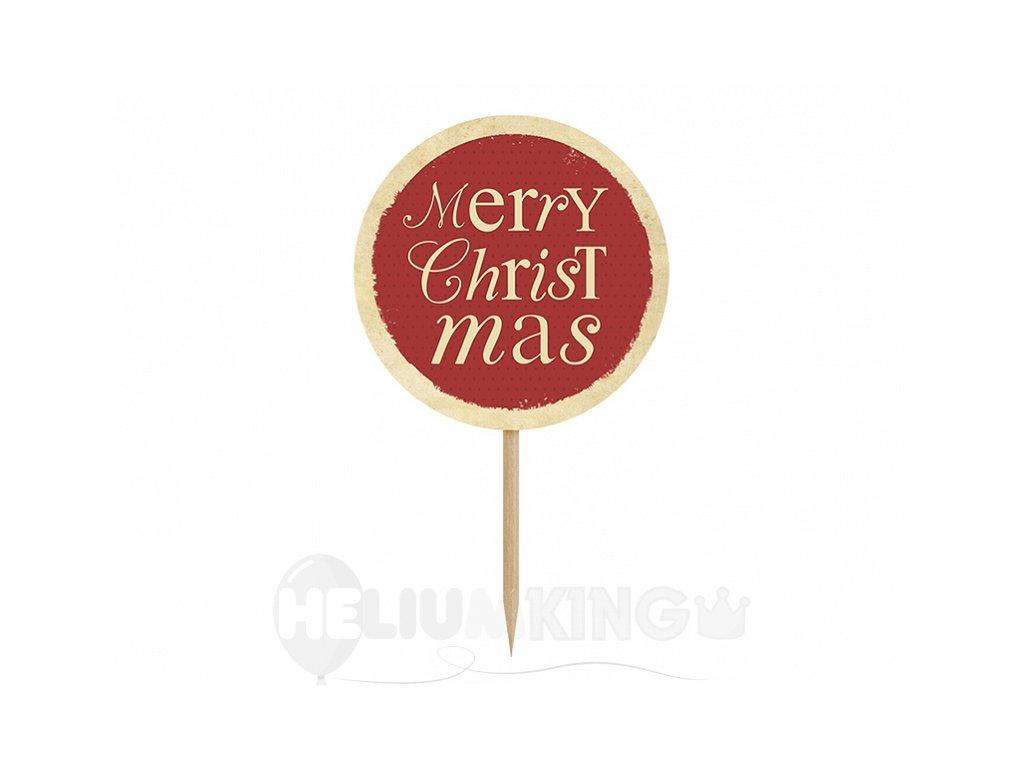 Ozdoby na cupcakes - Merry Christmas 6 ks