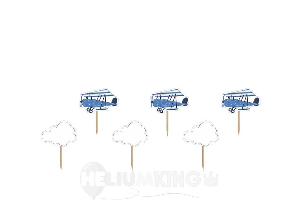 Ozdoby na cupcakes - Lietadlo 6 ks