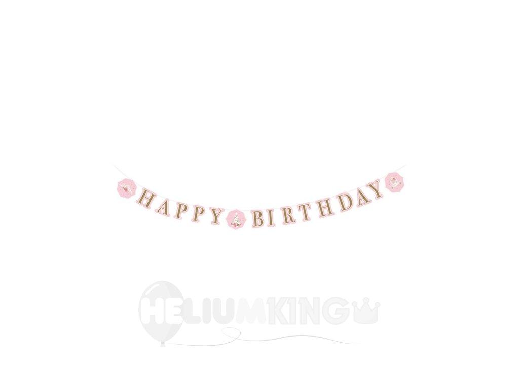Banner Happy Birthday - Ružový zámok/Labuť 170 x 15 cm