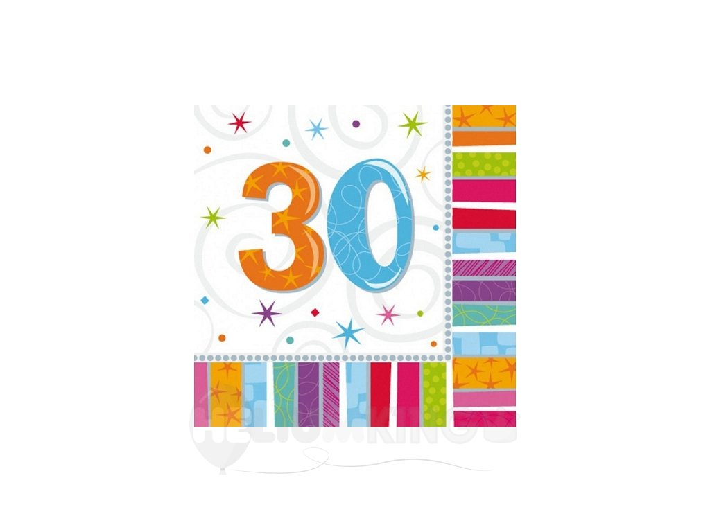 Servítky 30. šťastné narodeniny 33 x 33 16 ks