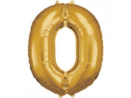 Balónik fóliový narodeninové číslo 0 zlatý 86cm