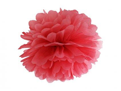 Pompom v tvare kvetu červený 35 cm