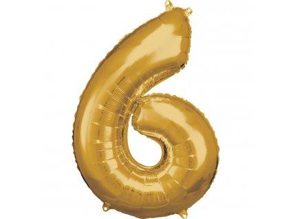 Balónik fóliový narodeninové číslo 6 zlatý 86cm