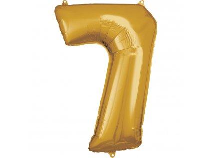 Balónik fóliový narodeninové číslo 7 zlatý 86cm