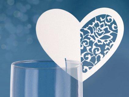Menovka srdce vyrezávaný ornament