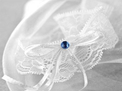 Vintage svadobný podväzok s modrým kamienkom