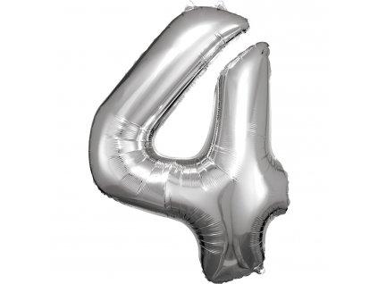 Balónik fóliový narodeninové číslo 4 strieborný 86cm