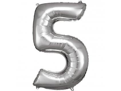 Balónik fóliový narodeninové číslo 5 strieborný 86cm