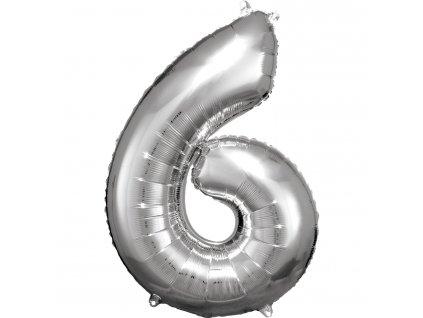 Balónik fóliový narodeninové číslo 6 strieborný 86cm