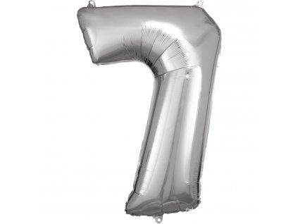 Balónik fóliový narodeninové číslo 7 strieborný 86cm