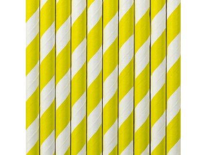 Papierové slamky žlté pruhované 20 cm 10 ks