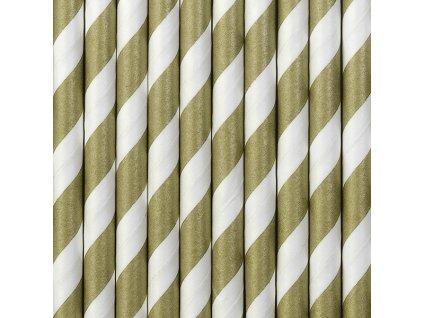 Papierové slamky zlaté 10 ks