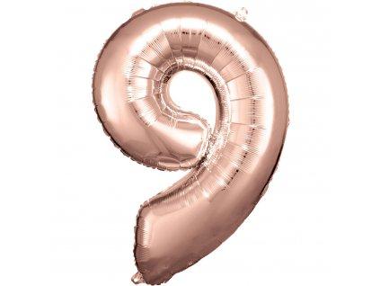 Balónik fóliový narodeninové číslo 9 ružovo-zlatý 86 cm
