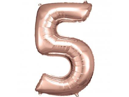Balónik fóliový narodeninové číslo 5 ružovo-zlatý 86 cm