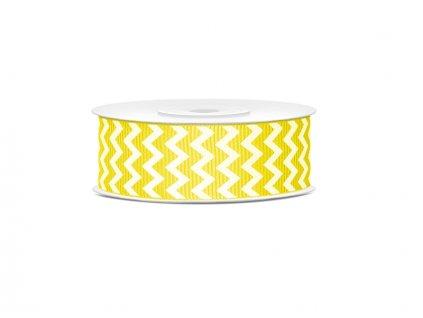 Rypsová stuha žltá so vzorom chevron 25mm/10m