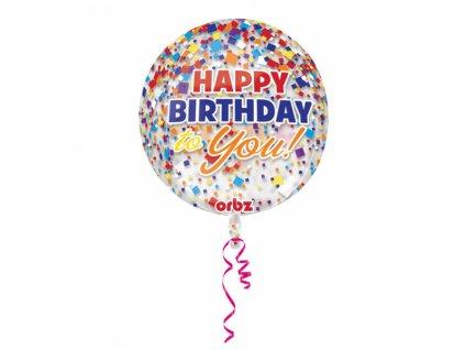 Balon Happy birthaday confetovy