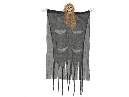 Visiaca dekorácia - Kostra s vlasmi